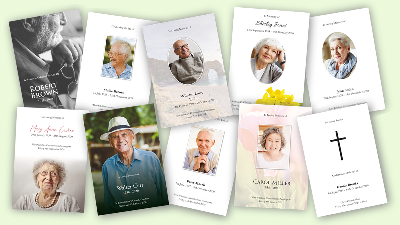 Printed samples Funeral Stationery